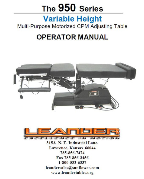 Leander 950 Series Operator Manual - PDF Download
