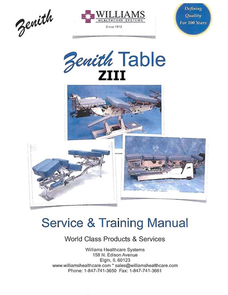 Zenith III Chiropractic Table Service & Instruction Manual - Hard Copy