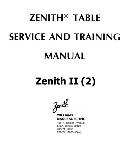 Zenith II Chiropractic Table Service & Instruction Manual - Hard Copy