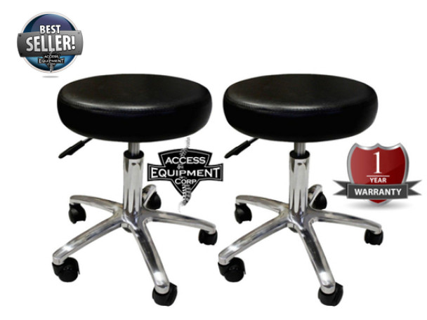 Gas Lift Chrome Bottom Rolling Stool Package Qty 2