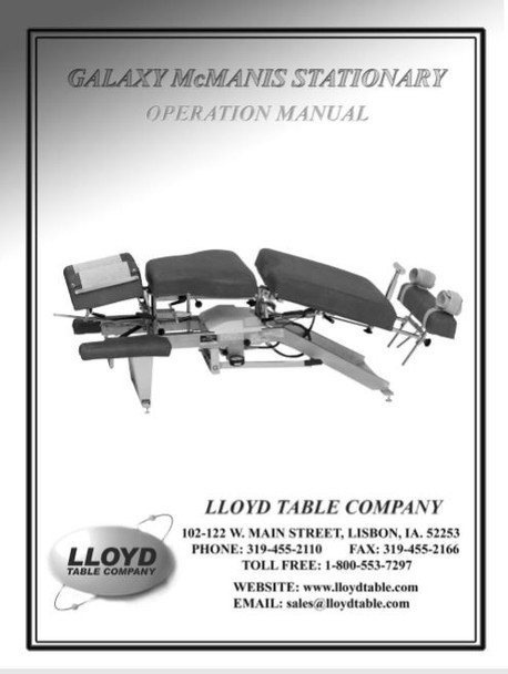 Lloyd Galaxy McManis Stationary Operation Manual - PDF Download