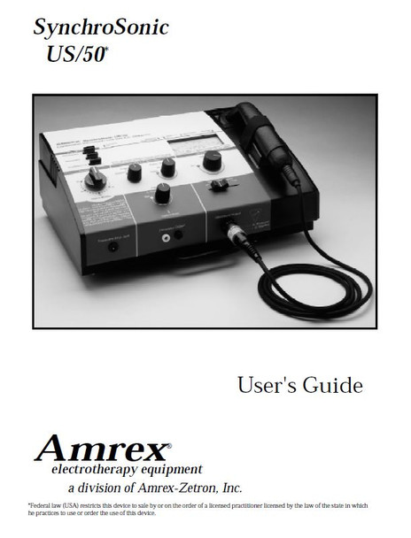 Amrex SynchroSonic US/50 User Manual - PDF Download