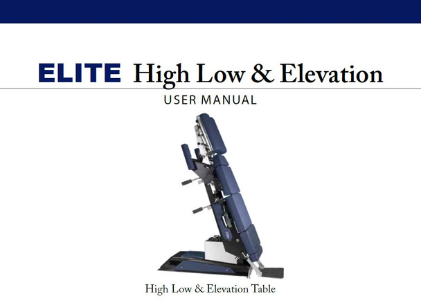 Elite High Low & Elevation User Manual - PDF Download