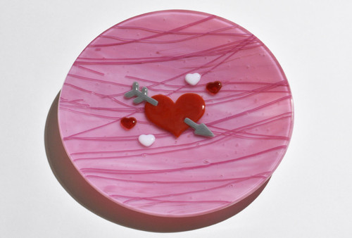 Bowl of Devotion - Opaque pink with white streaks. Includes streamer raised heart accents