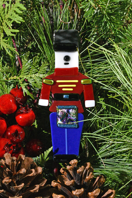Fused Glass Soldier Drummer Ornament - Red/Blue