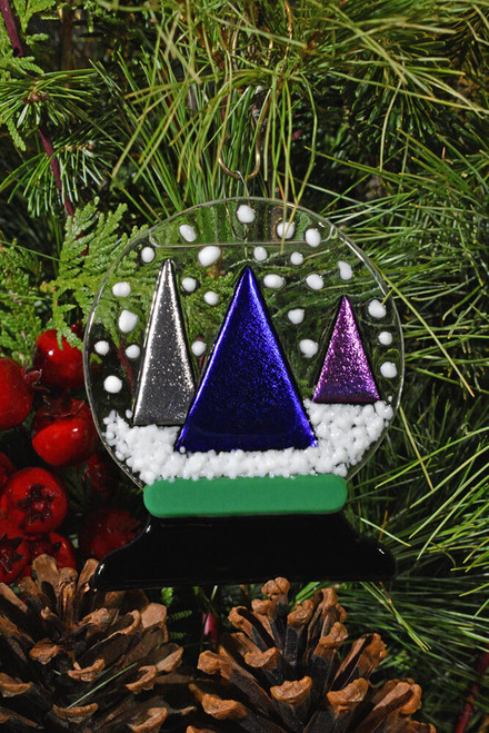 Fused Glass Snow Globe Ornament with Snowy Tree Trilogy Scene.