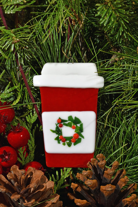 Cup-o-Jo Glass Ornament, Red with Holiday Wreath