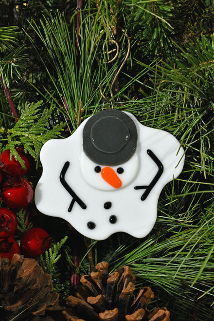 Climate change melting snowman glass ornament