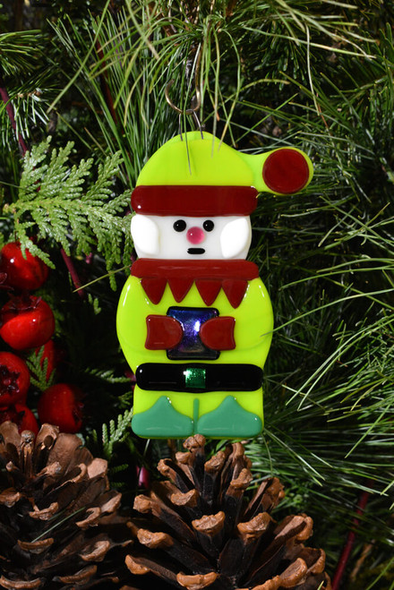 Fused Glass Santa's Helper Elf Ornament