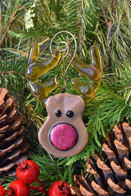 Rudolf reindeer fused glass ornament.