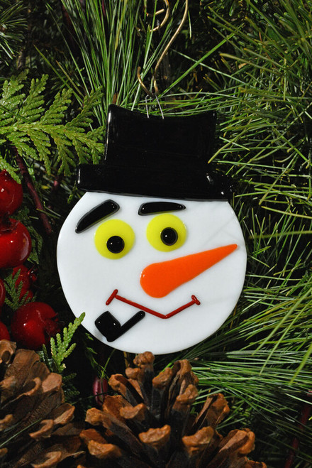 Frosty Snowman Glass Ornament, eye color varies (yellow)
