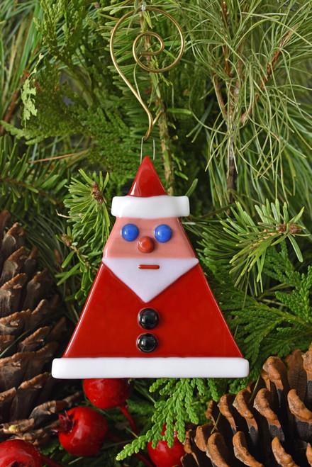 Fused Glass Santa Isosceles Ornament - Blue Eyes
