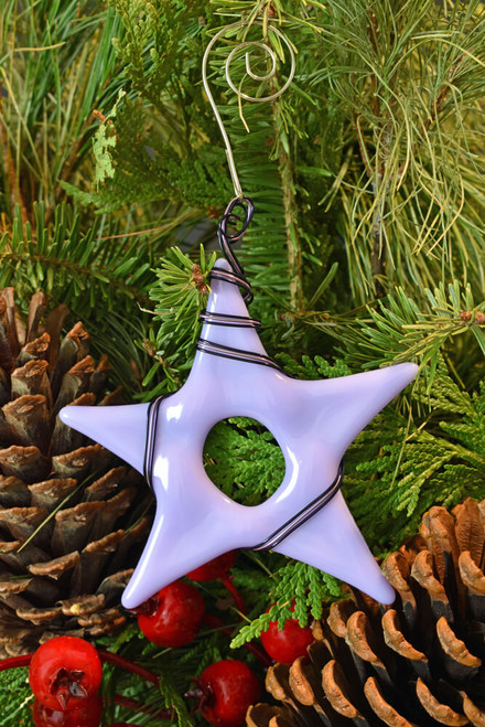 Fused Glass Christmas Tree Star Ornament - Wire Wrapped, Neo Lavender