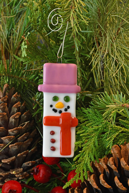 Petite Glass Snowman with Pink and Red Accents.