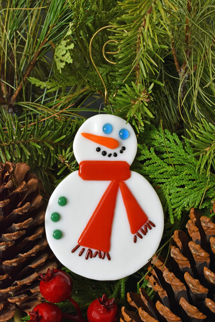 Fused Glass Snowman Ornament with Scarf