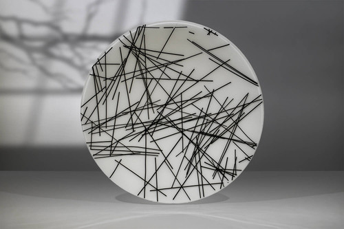 """18.5""""d - A black and white artistic representation of deconstruction. Artwork shown upright."""