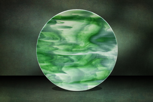 "18.5"" Created from opaque, limited production art glass with a mix of kelly green and white. Shown upright."