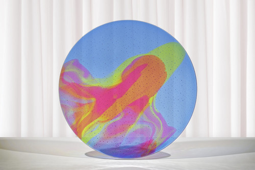 "18.5""d aurora with transparent colors of light blue, green and pink. One of a kind. Shallow drop. Shown standing."