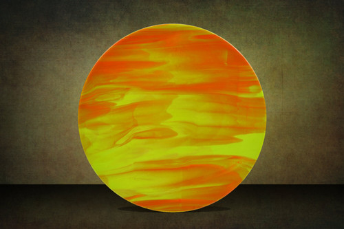 "18.5""d Created from a mix of opaque orange and yellow limited production art glass. Shown upright. One-of-a-kind."