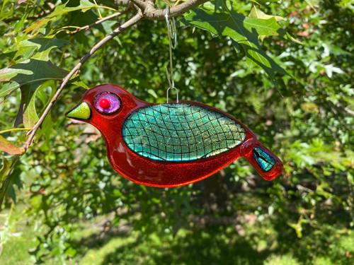 Orange Fishnet Songbird