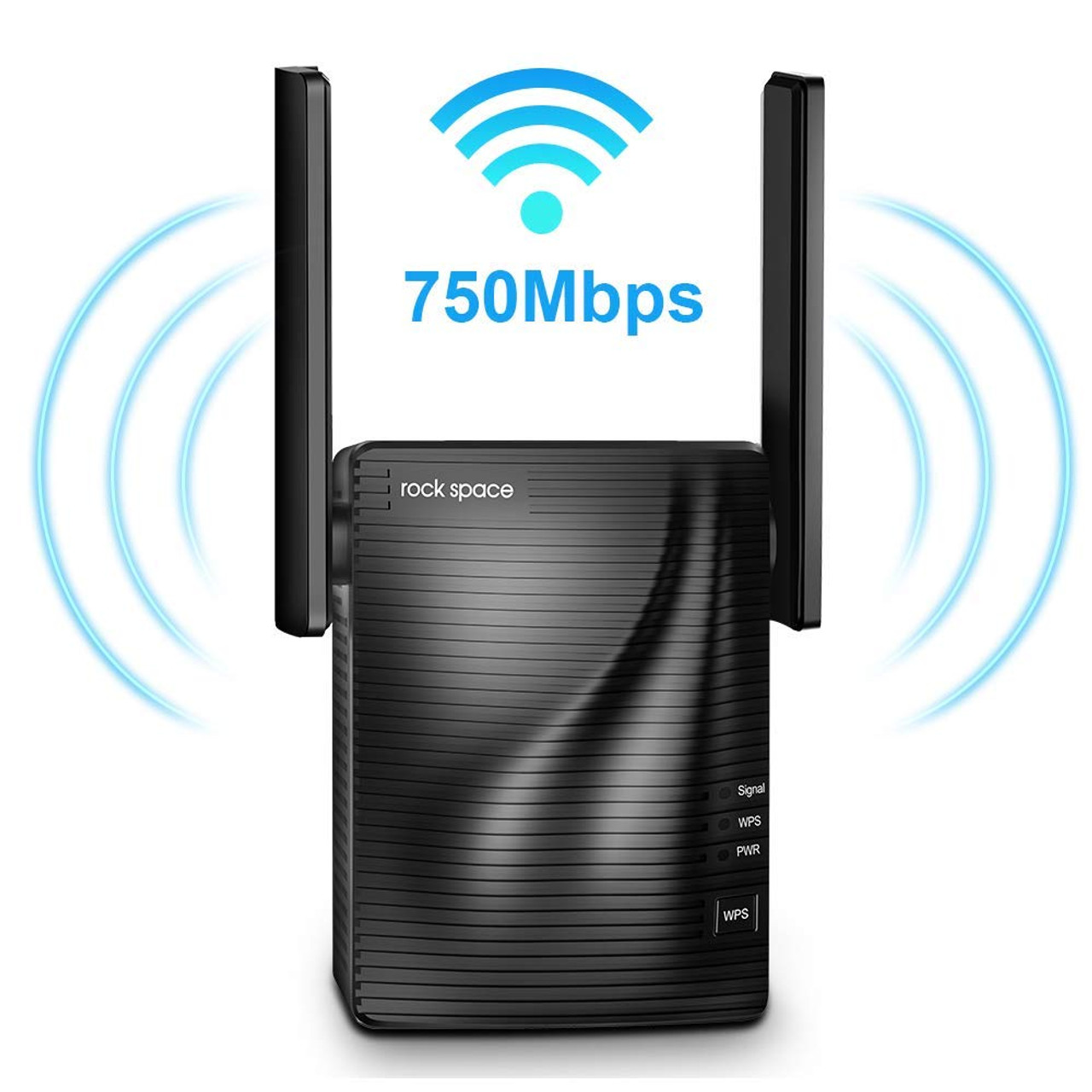 ROCK SPACE 750Mbps Wireless Signal Booster, 2 4 & 5GHz Dual Band Wi-Fi  Extender with Gigabit Ethernet Port, 360 Degree Full Coverage Wi-Fi Range