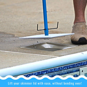 LIDZ Off Pool Skimmer Lid & Skimmer Basket Removal Tool with Quick Release Handle - Avoid Bending & Getting Bit