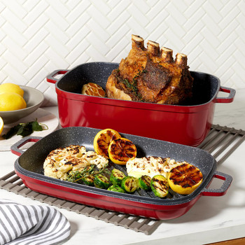 Curtis Stone Dura-Pan Nonstick 8.5 qt. Roaster with 3.5 qt. Grill Lid 628-188
