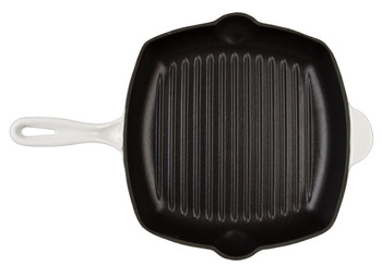 "Inspired Home 10"" Square Enameled Cast Iron Grill Pan - Pure White"
