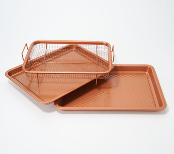 "Copper Chef Diamond 9""x13"" Cookie Sheet & Medium Crisper Tray - Renewed"