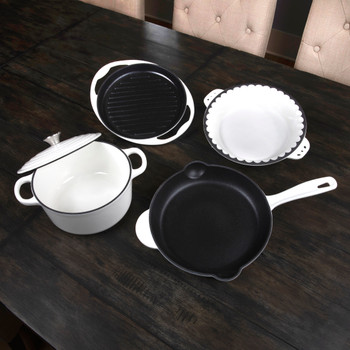 Inspired Home 5-Piece Enameled Cast Iron Cookware Set - Pure White