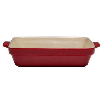 Cuisine & Co 3 Piece Red Ceramic Stoneware Bundle with Mixing Bowl, Rectangular Baking Dish, and Square Baking Dish