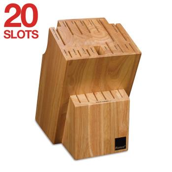 Ronco 20 Slot Knife Block, Honey Oak Hardwood with Labeled Slots