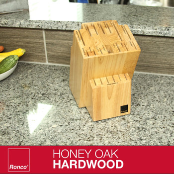 Ronco 20 Slot Knife Block, Honey Oak Hardwood with Labeled Slots