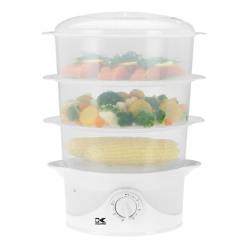 KALORIK 9 QUART 3-TIER FOOD STEAMER, WHITE