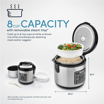 Aroma 8 Cup Digital Cool-Touch Rice Cooker and Food Steamer, Stainless