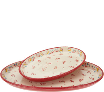 Valerie Bertinelli 2-Piece Hand-Painted Platter Set