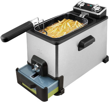 Kalorik 4.2 Quart Deep Fryer With Oil Filtration XL, Stainless Steel Refurbished
