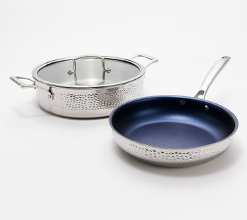 Blue Jean Chef 3-Pc Hammered Tri-Ply Stainless Steel Cookware Set