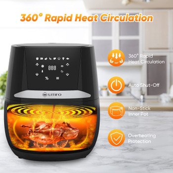 LITIFO 4.5QT Air Fryer with Digital, LED Touch Screen, Single Basket System, Non-Stick Coating, 7 Preset Cooking Functions, Dishwasher Safe (Matte Black)