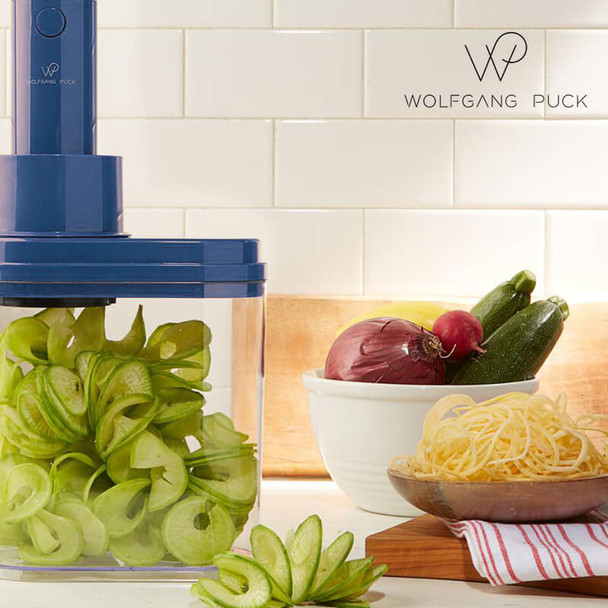 Wolfgang Puck BSPL0010 3-in-1 Electric Power Spiralizer With 3 Blades and Recipes