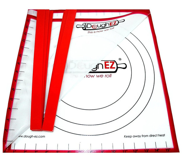 """DoughEZ Dough Rolling Mat for Baking, 17.5"""" x 32"""", Non-Slip Silicone, 6 Guide Sticks, BPA Free, FDA Approved, Large"""