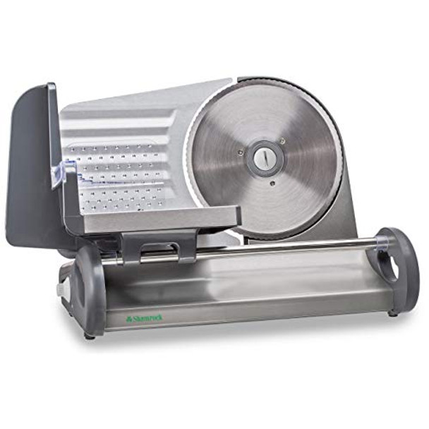 """Shamrock Precision Electric Food Meat Slicer, Removable Stainless Steel Blade, Adjustable Thickness, 17"""" x 11"""" x 8.5"""", Perfect for Deli Meats, Breads, Cheeses and Vegetables, Speed Control, X-Large"""