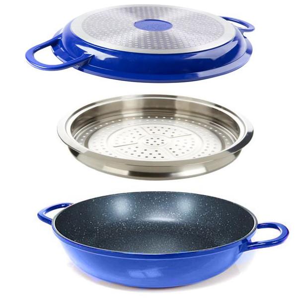Curtis Stone Dura-Pan Nonstick 4-Quart Multi-Function Pan w/Grill Lid Bundle W/ Steamer Tray