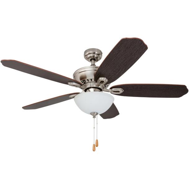Prominence Home Ceiling Fan Spring Hollow  52 inch Reversible Fan Blades, Nickel