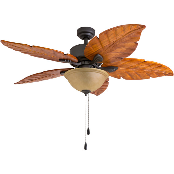 Ponte Vedra 80019 Ceiling Fan, 50 inch, 5 Palm Carved Wood, Wet-Rated, Bronze