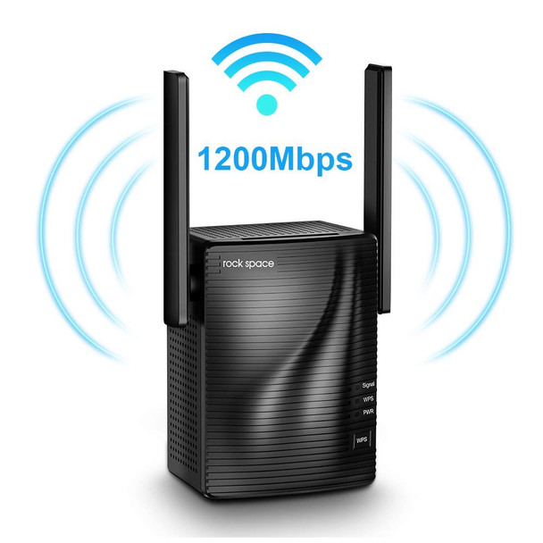 Rock Space WiFi Range Extender - 1200Mbps WiFi Repeater Wireless Signal Booster, 2.4 & 5GHz Dual Band WiFi Extender
