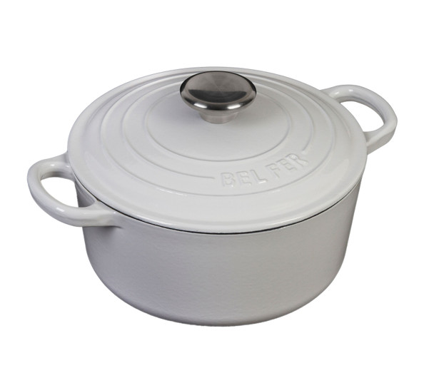 Inspired Home 5 Quart Enameled Cast Iron Dutch Oven - Pure White