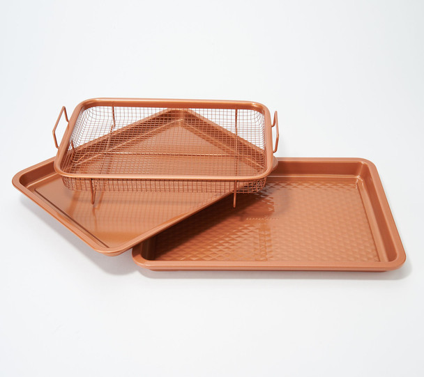 "Copper Chef Diamond 9""x13"" Cookie Sheet & Medium Crisper Tray - Renewed"