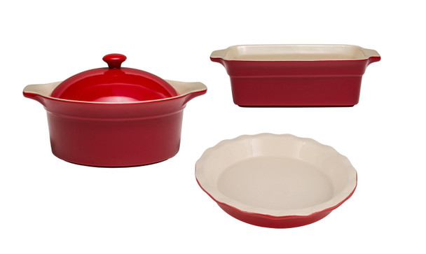 Cuisine & Co 4 Piece Red Ceramic Stoneware Bundle with 2 qt Casserole Dish, 11.5 in Loaf Dish, and 11.5 in Pie Dish