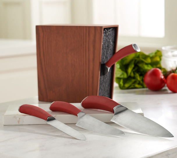Valerie Bertinelli 4pc Cutlery Set with Wood Block Storage Model K46651